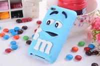 Cute 3D cartoon Kids Silicone M&M Chocolate Beans Case cover for ipod touch 4 itouch 4 ,100pcs/lot