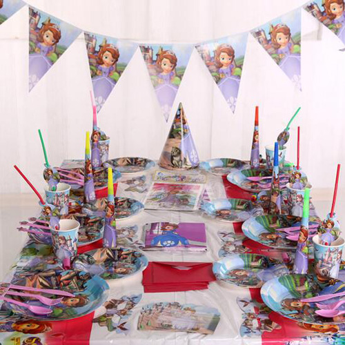 Sofia princess birthday party decorating tableware set for 16