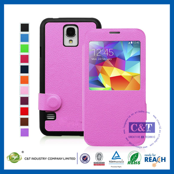 2014 new hot products flip pu card holder shell for samsung galaxy s5