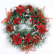 led luxury christmas wreath plastic indoor decoration