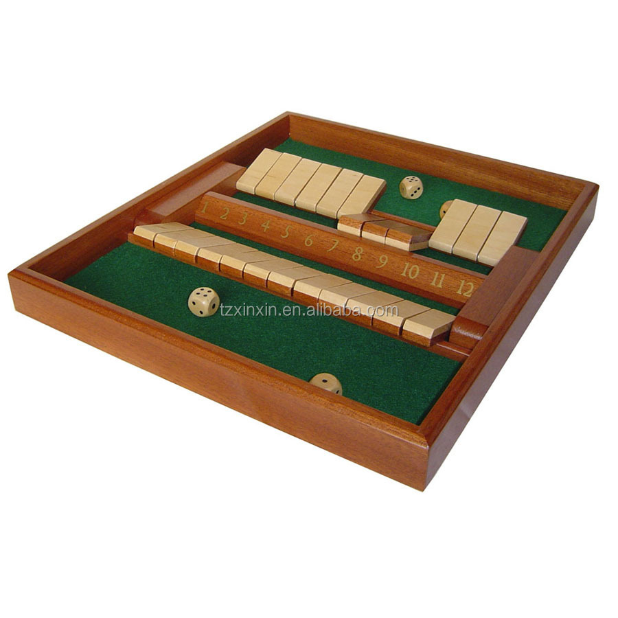 wooden antique shut the box for 2 player board game
