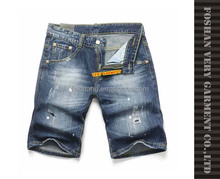 Latest design whiskers stained short jeans trousers for men