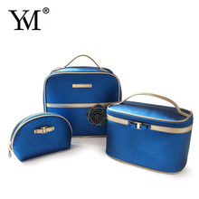 New women fashion promotional custom pu leather makeup pouch cosmetic gift bag set wholesale