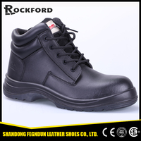 Black groundwork high top first layer leather safety footwear