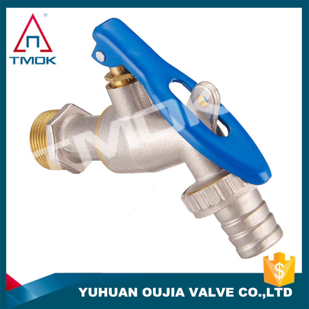 "brass bibcock 1/2-1"" nickle plating lockable handle high quality cold water faucet wash machine tap"