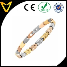 Womens Tri Color Titanium Bracelet,leaf shape stainless steel bio bracelet