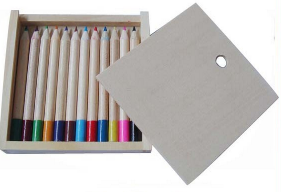 Kids Welcomed Colorful Pencils Packing Wooden Box