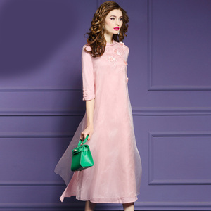 04e920f266ca party women summer casual new design casual pink silk dresses for ladies