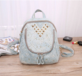 2017 Wholesale fashion small rivet denim backpack for ladies