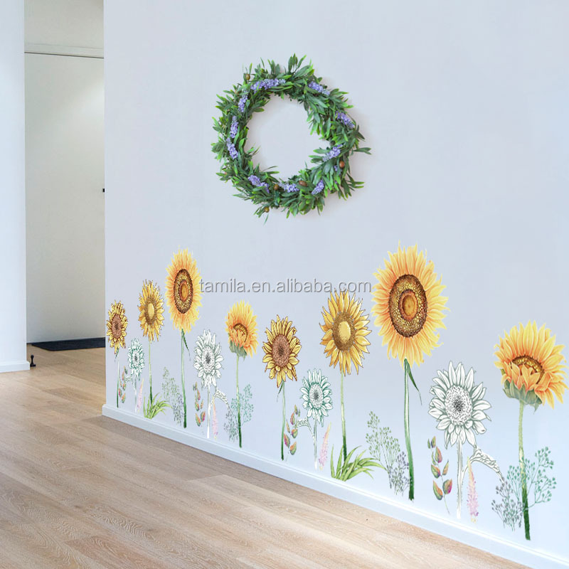 fashion home decorative sunflower waterproof pvc wall decorative sticker