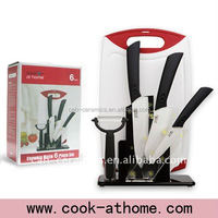6PCS Top Quality Kitchen safety Ceramic Knives Set with Non-Slip Cutting Board and PP board