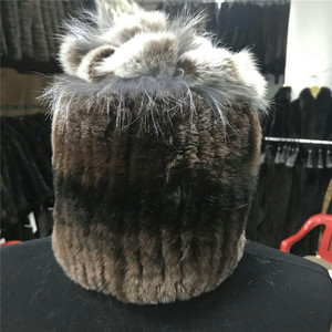 women big pompom knitted Rex Rabbit beanie fur hat with pom pom