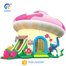 new create Smurf Inflatable Mushroom Combo jumper castle with slip slide