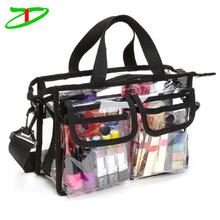 Weather proof rain resistant makeup artist sling pack clear transparent pvc cosmetic bag
