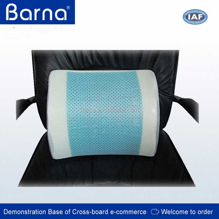 PU Moulded Memory Foam lumbar support cushion, back car seat pillow, different color available with 3D mesh ventilated fabric
