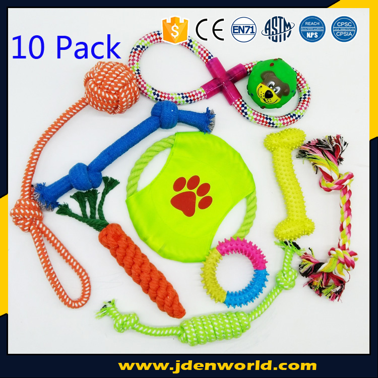 10 Pack Pet Set New design squeak chew flying discs rope balls dog toy