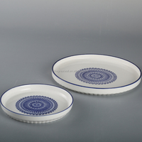Classic blue and white ceramic pie pan, quiche pan, baking plate