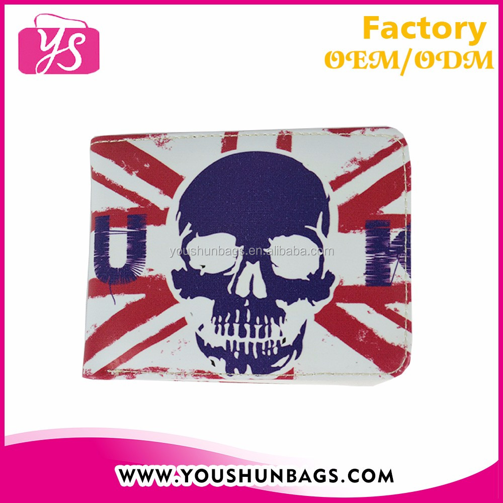 New style skull design PU folding wallet wholesale