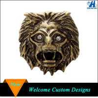 China supplier cheap antique gold lion head finger ring for men