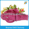 Ladies' Fashion Rosy Color PU Leather Woven Dress Belt with Wraped Buckle