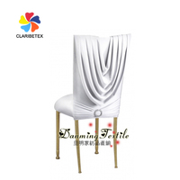 Hot Sale Popular Spandex Satin chair back cover with diamond buckle, White