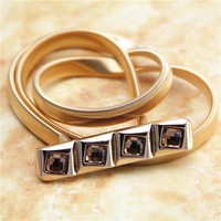 C86214A New Fashion Ladies Elastic Metal