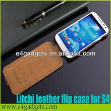 Hottest Sale Luxury 100% Genuine leather Vertical folio case for samsung s4 phone case