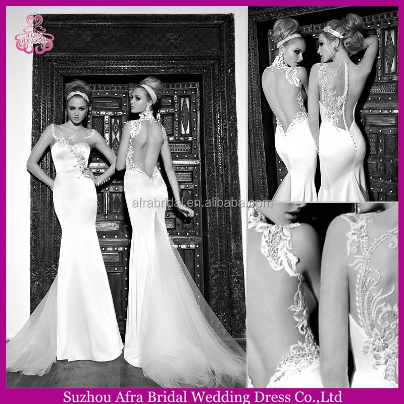 QQ3014 high neck sheer back sex wedding dress mermaid cut modern western wedding dress