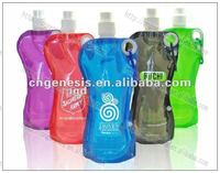 2016 sports foldable water bottle with button & grommet 500ml