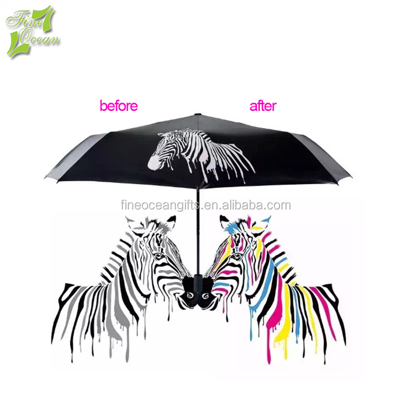 promotional custom logo change color when wet water rain magic umbrella