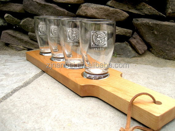 Custom made logo wooden beer flight,wood beer paddle