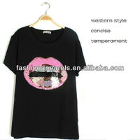 western fashion concise pink lip wtih teeth black tshirt