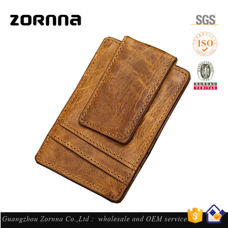 China Supplier Fashion New Arrival Product Crazy Horse Leather Design Your Own Money Clip Wallet