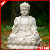 Hand carved white marble large buddha statue for sale
