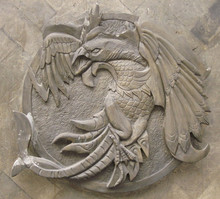 The bird relief stone carving sculpture