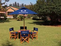 Directors chairs / folding table and 2.0 square Umbrella