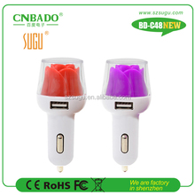 2016 Popular NEW 2.1A dual usb car charger with LED flower for pad,power bank, tablet pc