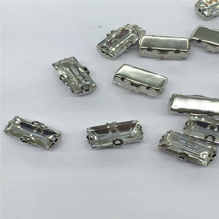 cheap price garment accessories loose rectangle crystal with silver claws sew on rhinestone claw setting