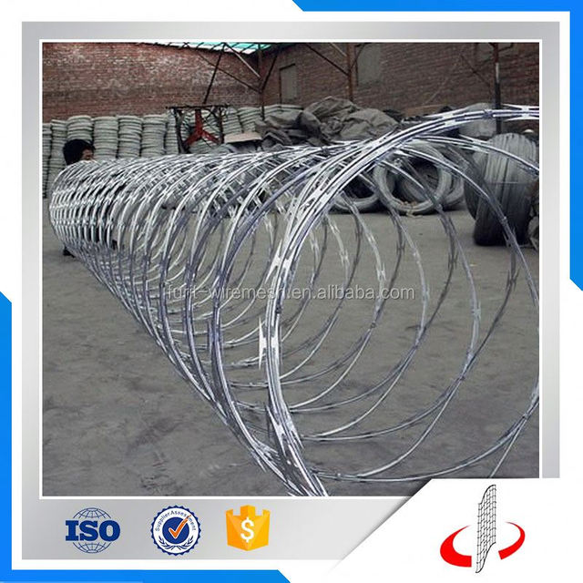 304 Ss 304 Stainless Blade Bto 22 Concertina Razor Wire With Cliped