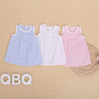 100% cotton simple newborn girls summer lace pinstriped baby dress