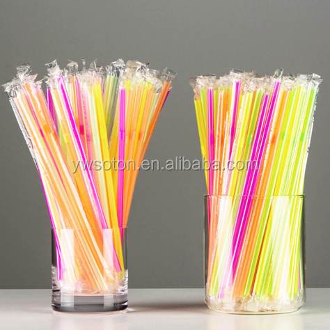 color rigid straw plastic transparent sleeve individual wrapped neon drinking straw