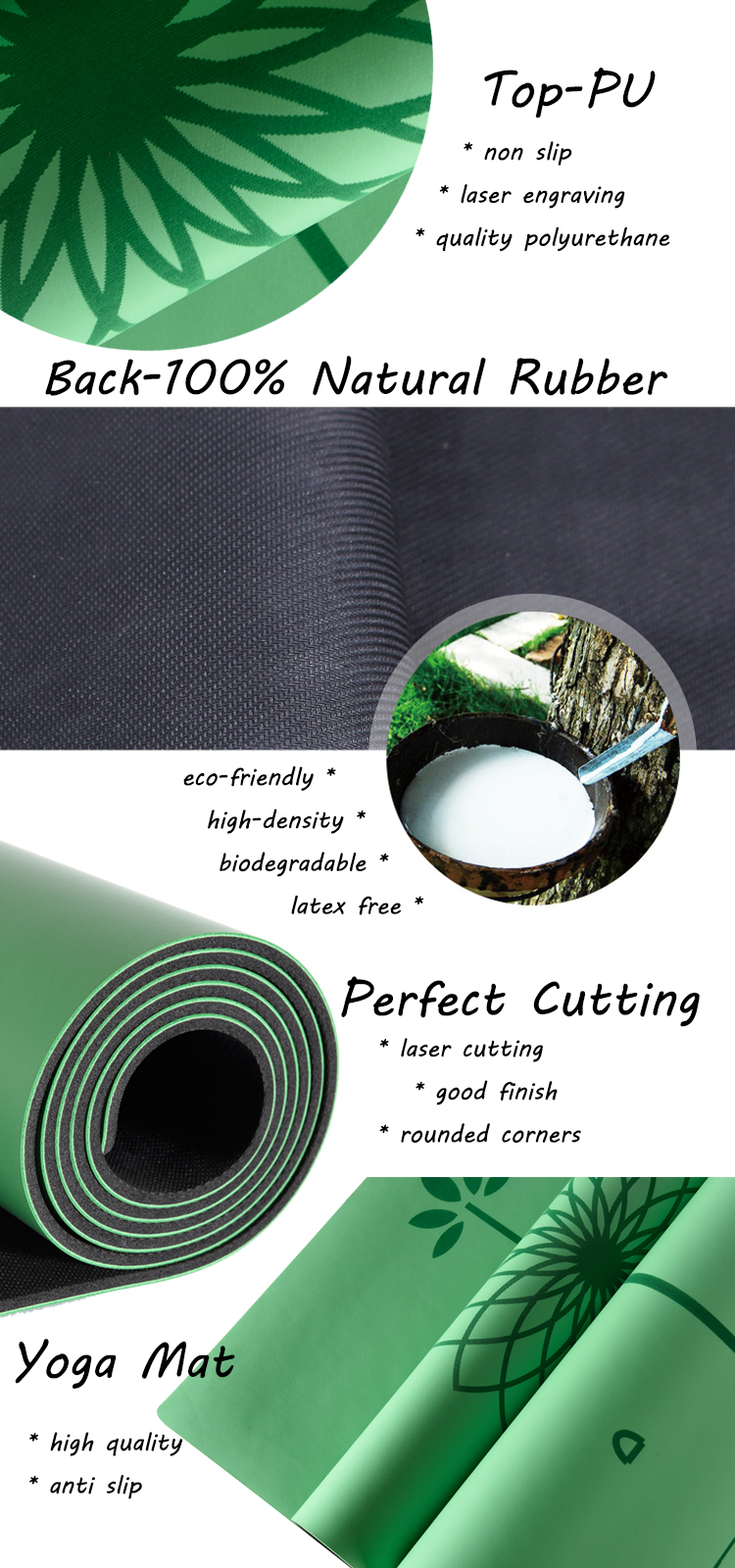 Quality ultra-grippy polyurethane non slip tree natural rubber pu yoga mat manufacturer