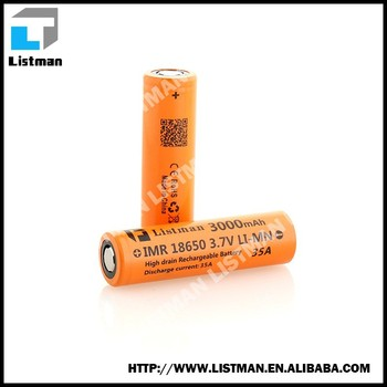 Manufacturer Listman 18650 rechargeable li-mn battery 3.7v Listman 18650 3000mah 35A battery for mods/flashlight/vaporshark/IPV4
