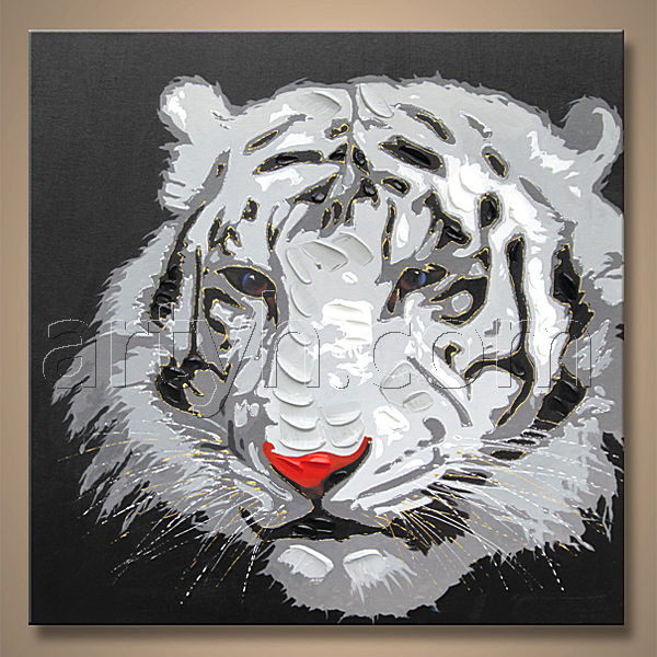 Pop handmade modern animal image oil painting tiger picture design