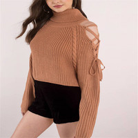 P18B150CH ladies heavy chunky knit turtle neck oversize crop top pullover sweater