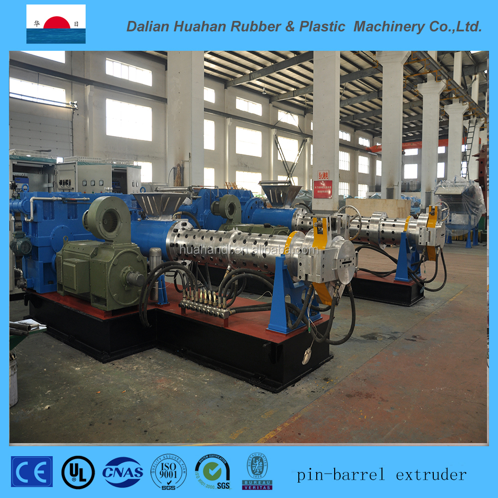 Pin-Barrel cold feed rubber extruder with calender and palletizer device XJD-200