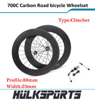 HK-WH-88C-W23-C 2015 custom Carbon Clincher Wheel Set 700c Shimo 11 system with 23mm width of 88mm complete wheelset
