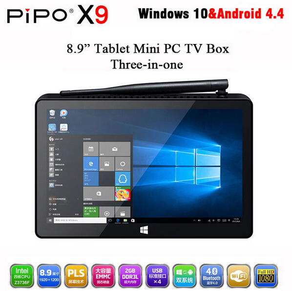 PIPO X9 Mini PC Windows10 Android4.4 Dual Boot 8.9 inch Tablet Mini PC Intel Z3736F Quad CoreMini Computer BT4.0