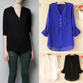 2014 New Women Basic Chiffon Blouse Tops Casual Button Long Sleeve Shirt Blouse V-neck 3 Colors plus size 19507