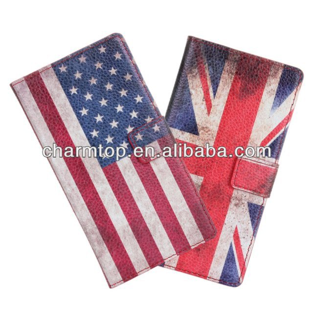 Hot Selling Flag Leather Wallet Case For HTC Desire 500